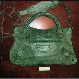 Authentic Balenciaga medium green lambskin purse